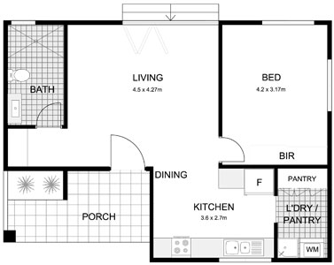 100 1 bedroom floor plan granny flat allworth homes for Granny flat floor plans 1 bedroom