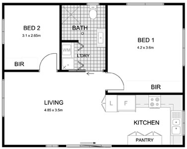 Liverpool granny flat builders for Floor plan granny flat